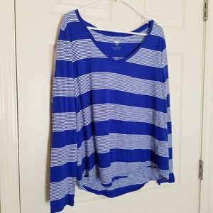 Old Navy Blue/White Stripe Relaxed Long Sleeve